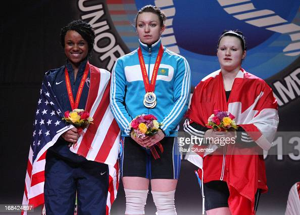 Milena Kruczynska of Poland A Junior World Champion Anastsiya Shvabauer of Kazakhstan A and Sumeyye Kentle of Turkey A in the podium of Women's 75kg...