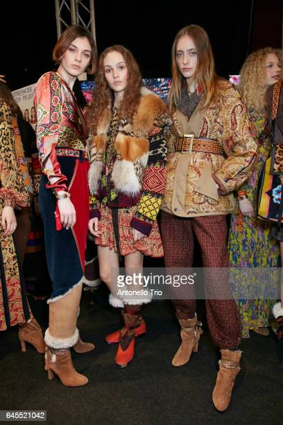Milena Litvinovskaya Michelle Gutknecht and Lia Pavlova seen backstage ahead of the Etro show during Milan Fashion Week Fall/Winter 2017/18 on...