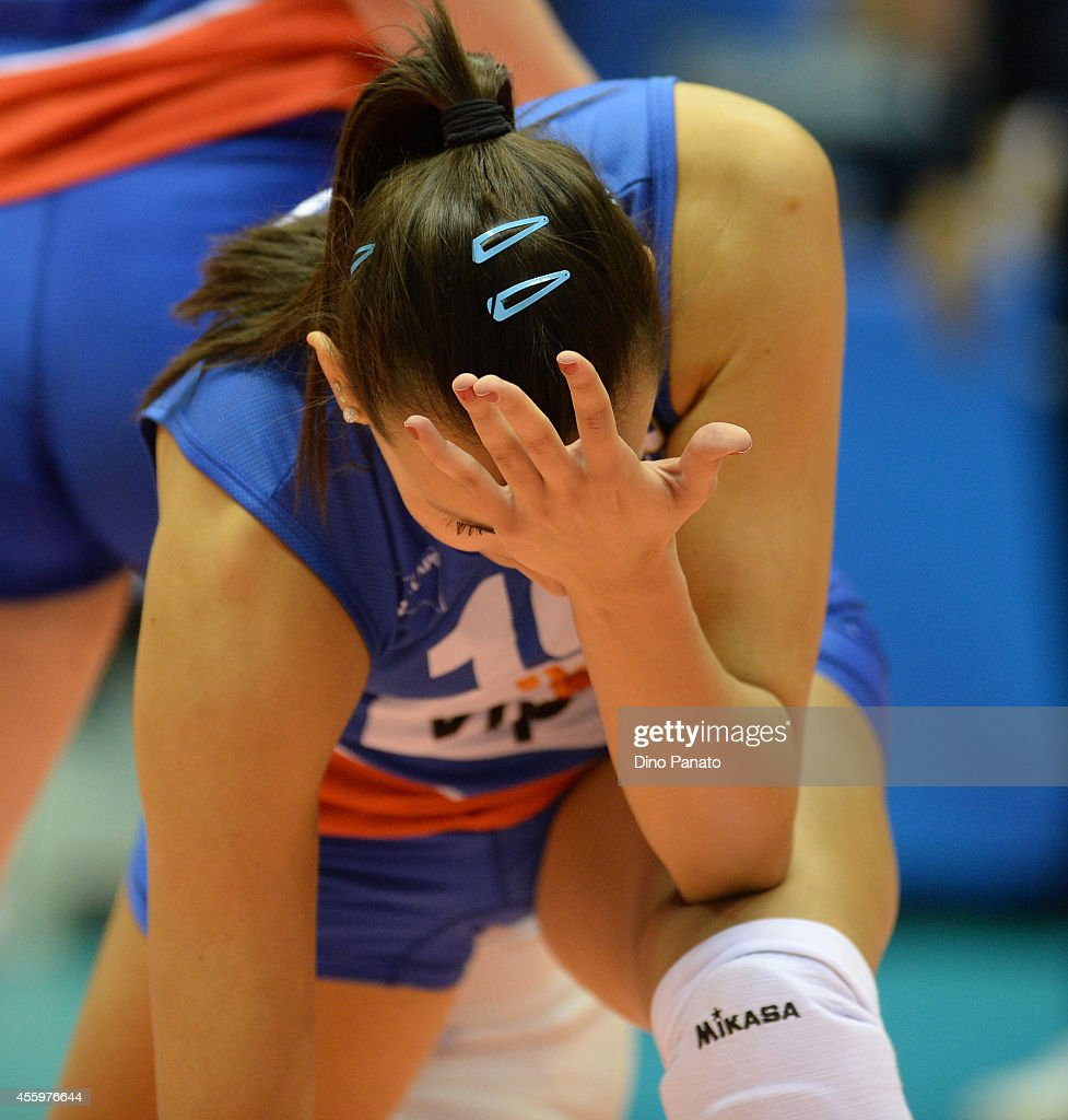 Milena Rasic of Serbia shows his dejection during the FIVB Women's World Championship pool B match between Serbia and Turkey on September 23, 2014 in Trieste, Italy.