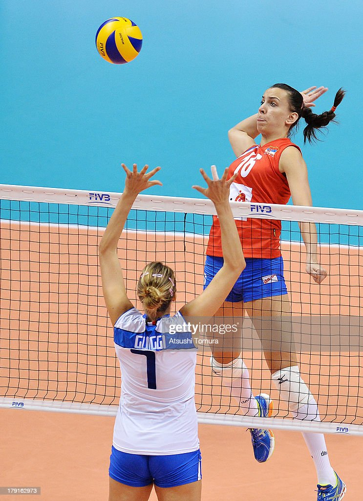 Milena Rasic of Serbia spikes the ball during day five of the FIVB World Grand Prix Sapporo 2013 match between Serbia and Italy at Hokkaido Prefectural Sports Center on September 1, 2013 in Sapporo, Hokkaido, Japan.
