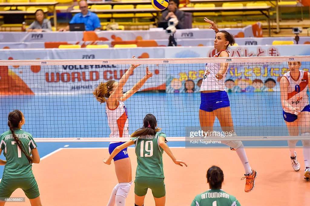 Milena Rasic #16 of Serbia spikes the ball in the match against Algeria during the FIVB Women's Volleyball World Cup Japan 2015 at Matsumoto City General Gymnasium on August 26, 2015 in Matsumoto, Japan.