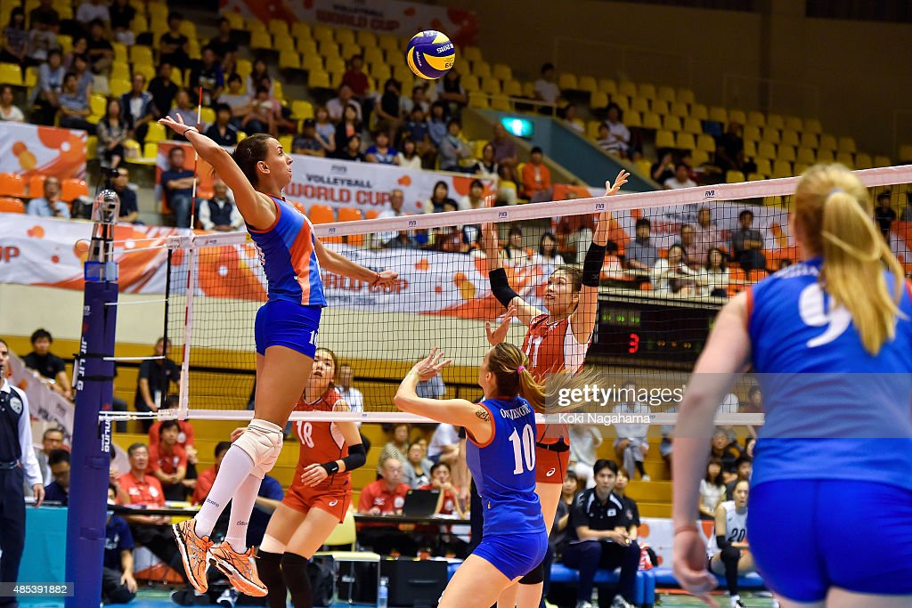 Milena Rasic #16 of Serbia spikes the ball in the match against South Korea during the FIVB Women's Volleyball World Cup Japan 2015 at Matsumoto City General Gymnasium on August 27, 2015 in Matsumoto, Japan.