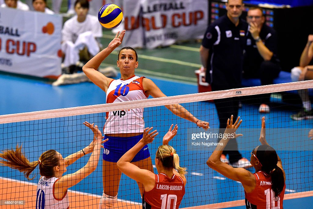 Milena Rasic #16 of Serbia spikes the ball in the match against USA during the FIVB Women's Volleyball World Cup Japan 2015 at Matsumoto City General Gymnasium on August 23, 2015 in Matsumoto, Japan.