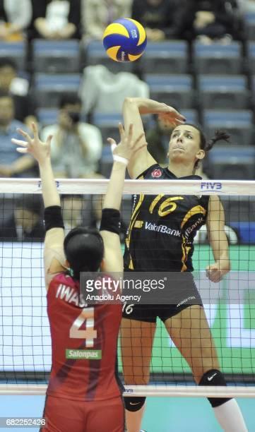 Milena Rasic of Vakifbank Istanbul in action against Nana Iwasaka of Hisamitsu Spring during the pool match of the FIVB Womens Club World...