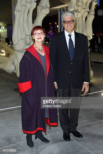 Milena Vukotic and her husband attend the MAXXI opening party on May 28 2010 in Rome Italy