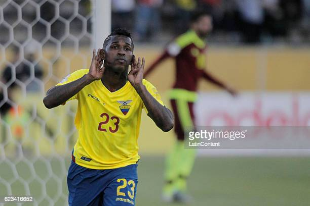 Miler Bolanos of Ecuador celebrates after scoring during a match between Ecuador and Venezuela as part of FIFA 2018 World Cup Qualifiers at Olimpico...