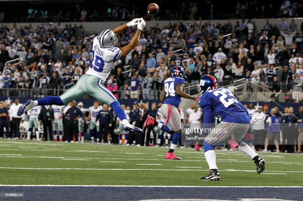 <a gi-track='captionPersonalityLinkClicked' href=/galleries/search?phrase=Miles+Austin&family=editorial&specificpeople=756585 ng-click='$event.stopPropagation()'>Miles Austin</a> #19 of the Dallas Cowboys fails to pull in a game ending pass in the end zone against <a gi-track='captionPersonalityLinkClicked' href=/galleries/search?phrase=Corey+Webster&family=editorial&specificpeople=664907 ng-click='$event.stopPropagation()'>Corey Webster</a> #23 of the New York Giants in the last play of the game at Cowboys Stadium on October 28, 2012 in Arlington, Texas. The New York Giants beat the Dallas Cowboys 29-24.