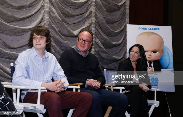 Miles Bakshi Director Tom McGrath and Melissa Musen Gerstein attend Mamarazzi screening Of 'The Boss Baby'at Dolby 88 Theater on March 19 2017 in New...
