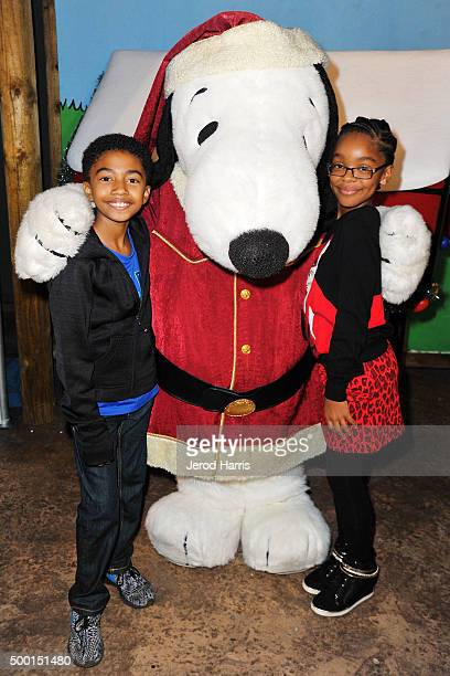Miles Brown and Marsai Martin attend Knott's Merry Farm Countdown to Christmas Tree Lighting at Knott's Berry Farm on December 5 2015 in Buena Park...