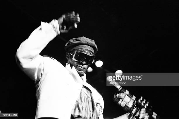 Miles Davis performing on stage playing 'Aura' in Copenhagen on December 14 1984