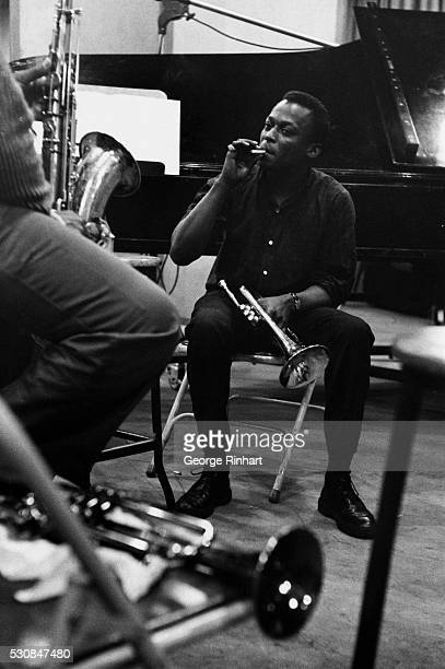 Miles Davis pioneer jazz musician takes a break during a recording session Undated photo