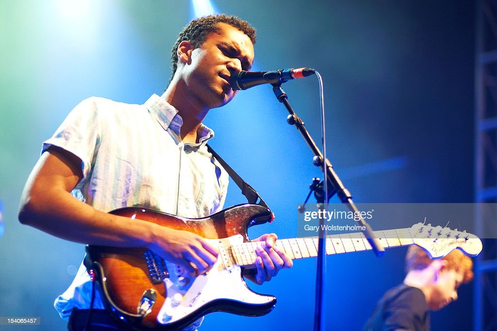 Miles Haughton of Theme Park performs on stage at O2 Academy on October 13, 2012 in Leeds, United Kingdom.