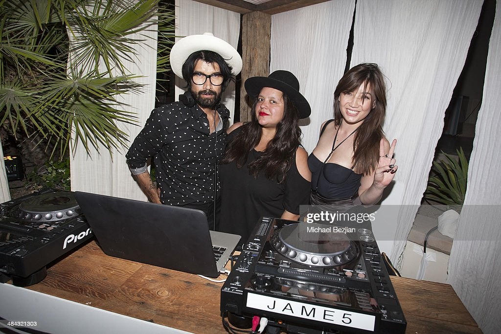 DJ Miles Hendrix poses for a picture with DJ Ana Calderon and DJ <a gi-track='captionPersonalityLinkClicked' href=/galleries/search?phrase=Daisy+Lowe&family=editorial&specificpeople=787647 ng-click='$event.stopPropagation()'>Daisy Lowe</a> at Soho Desert House with Bacardi and Spotify Day 1 on April 11, 2014 in La Quinta, California.