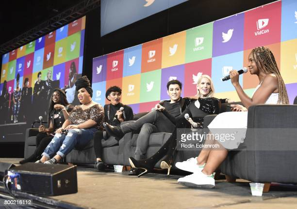 Miles Jai Patrick Starrr Bretman Rock Manny Mua Jeffree Star and Chrystina Woody Train speak onstage at 2017 VidCon at the Anaheim Convention Center...