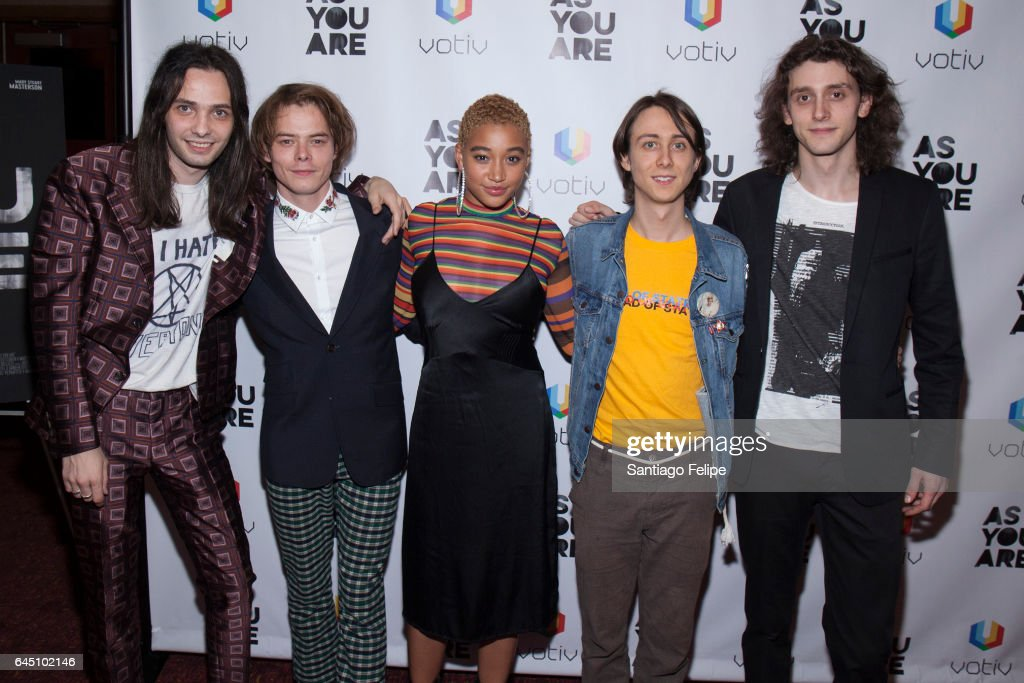 Miles Joris-Peyrafitte, Charlie Heaton, Amandla Stenberg, Owen Campbell and Madison Harrison attend 'As You Are' New York Premiere at Village East Cinema on February 24, 2017 in New York City.
