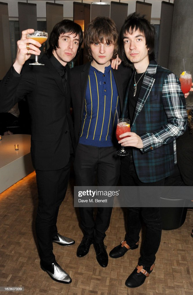Miles Kane Jay Sharrock and Jeff Wootton party in Wyld at W London Leicester Square after the NME Awards whilst drinking 'CIROC 'n' Roll' cocktails...