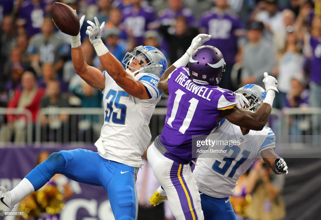 Miles Killebrew #35 of the Detroit Lions breaks up a pass to Laquon Treadwell #11 of the Minnesota Vikings in the second quarter of the game on October 1, 2017 at U.S. Bank Stadium in Minneapolis, Minnesota.