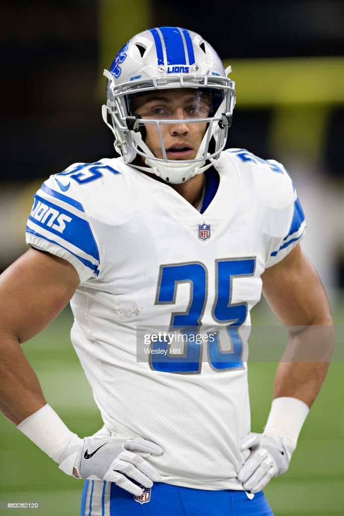 Miles Killebrew #35 of the Detroit Lions looks over to the sidelines during a game against the New Orleans Saints at Mercedes-Benz Superdome on October 15, 2017 in New Orleans, Louisiana. The Saints defeated the Lions 52-38.