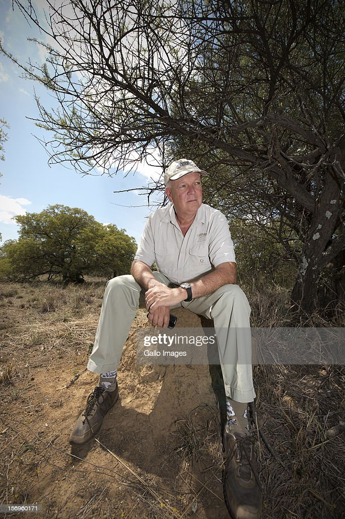 Miles Lappeman at the Finfoot Lake Reserve on November 24, 2012 in North West, South Africa. Eight rhino were slaughtered by poachers on Lappeman's farm.