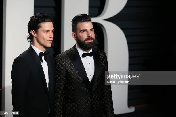Miles McMillan and actor Zachary Quinto attend the 2017 Vanity Fair Oscar Party hosted by Graydon Carter at the Wallis Annenberg Center for the...