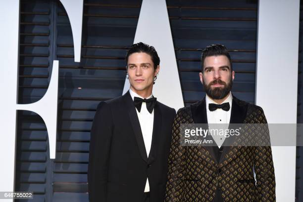 Miles McMillan and actor Zachary Quinto attend the 2017 Vanity Fair Oscar Party hosted by Graydon Carter at Wallis Annenberg Center for the...