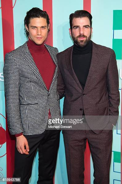 Miles McMillan and actor Zachary Quinto attend the Hugo Boss Prize 2016 at Solomon R Guggenheim Museum on October 20 2016 in New York City