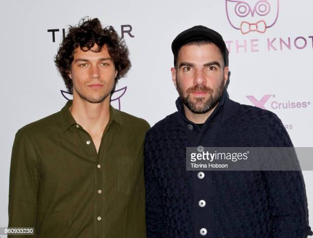 Miles McMillan and Zachary Quinto attend Jesse Tyler Ferguson's 'Tie The Knot' celebrations 5 year anniversary at NeueHouse Hollywood on October 12...