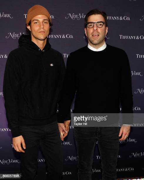 Miles McMillan and Zachary Quinto attend New York Magazine's 50th Anniversary Celebration at Katz's Delicatessen on October 24 2017 in New York City