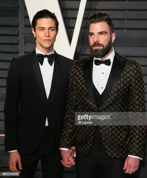 Miles McMillan and Zachary Quinto attend the 2017 Vanity Fair Oscar Party hosted by Graydon Carter at Wallis Annenberg Center for the Performing Arts...