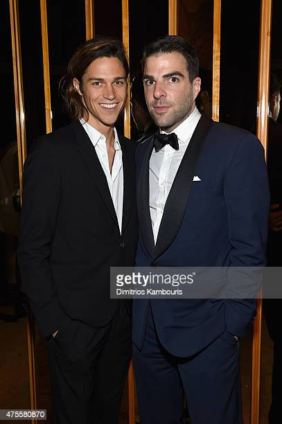 Miles McMillan and Zachary Quinto attend the official CFDA Fashion Awards after party coHosted by Refinery29 at The Top of The Standard on June 1...
