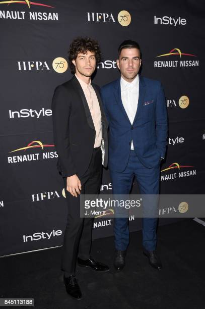 Miles McMillan and Zachary Quinto attends the HFPA InStyle annual celebration of 2017 Toronto International Film Festival at Windsor Arms Hotel on...