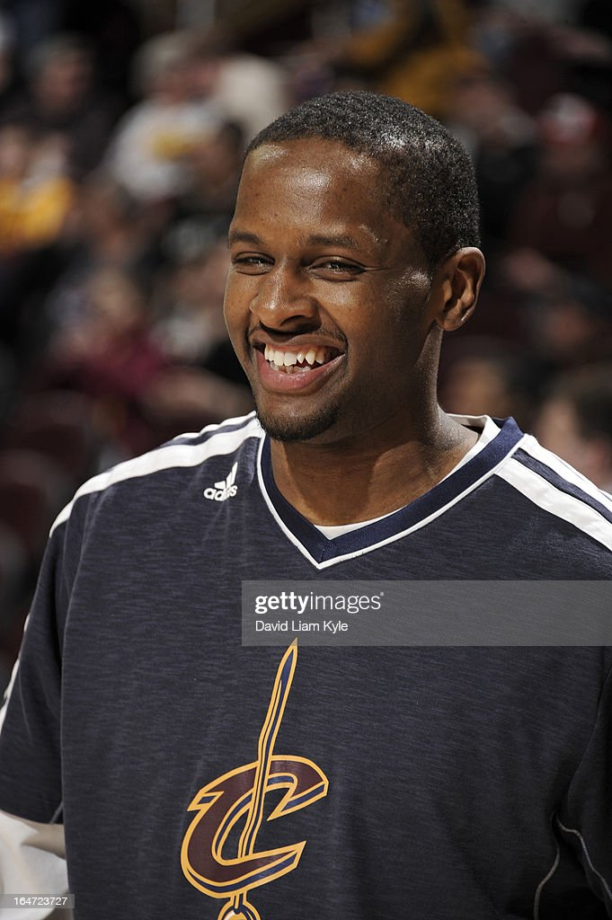 C.J. Miles #0 of the Cleveland Cavaliers looks on prior to the game against the New York Knicks at The Quicken Loans Arena on March 4, 2013 in Cleveland, Ohio.