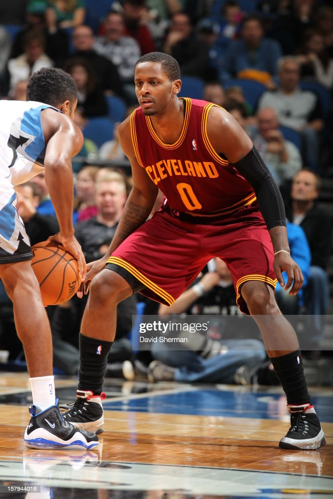 C.J. Miles #0 of the Cleveland Cavaliers plays tight defense against the Minnesota Timberwolves during the game on December 7, 2012 at Target Center in Minneapolis, Minnesota.