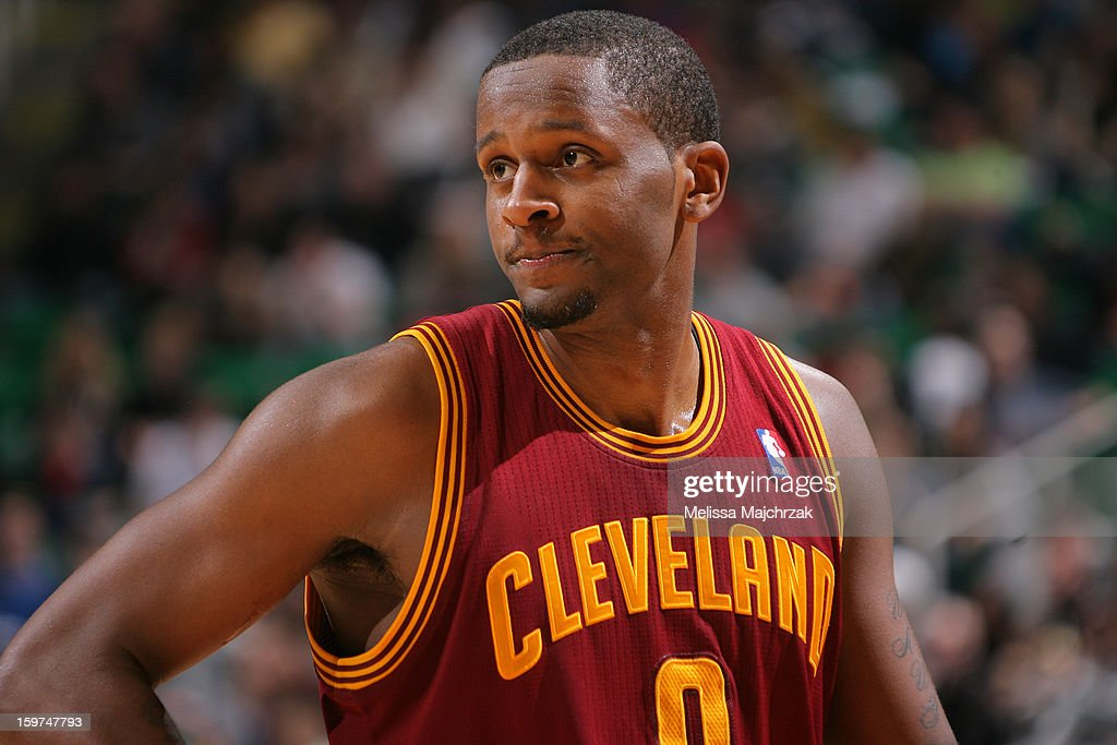 <a gi-track='captionPersonalityLinkClicked' href=/galleries/search?phrase=C.J.+Miles&family=editorial&specificpeople=641491 ng-click='$event.stopPropagation()'>C.J. Miles</a> #0 of the Cleveland Cavaliers reacts to a play during the game against Utah Jazz at Energy Solutions Arena on January 19, 2013 in Salt Lake City, Utah.