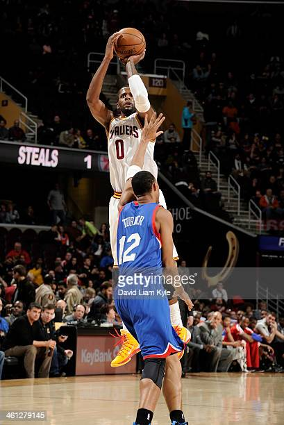 J Miles of the Cleveland Cavaliers sinks one of his five three pointers in the first quarter against Evan Turner of the Philadelphia 76ers at The...