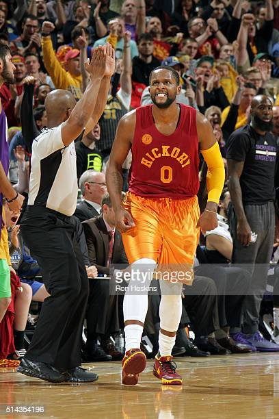 J Miles of the Indiana Pacers celebrates after hitting a three pointer against the Sacramento Kings on December 23 2015 at Bankers Life Fieldhouse in...