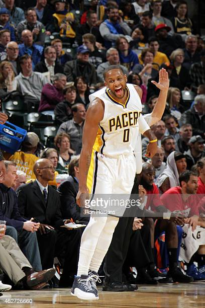 J Miles of the Indiana Pacers celebrates during a game against the New York Knicks on January 29 2015 at Bankers Life Fieldhouse in Indianapolis...