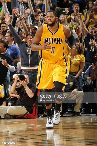 J Miles of the Indiana Pacers drives to the basket against the Washington Wizards during the game on April 14 2015 at the Bankers Life Fieldhouse in...