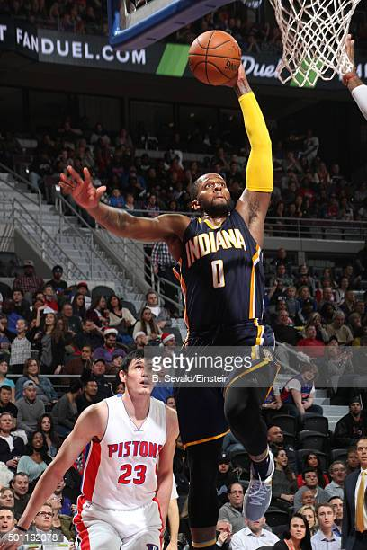 J Miles of the Indiana Pacers dunks against the Detroit Pistons on December 12 2015 at The Palace of Auburn Hills in Auburn Hills Michigan NOTE TO...