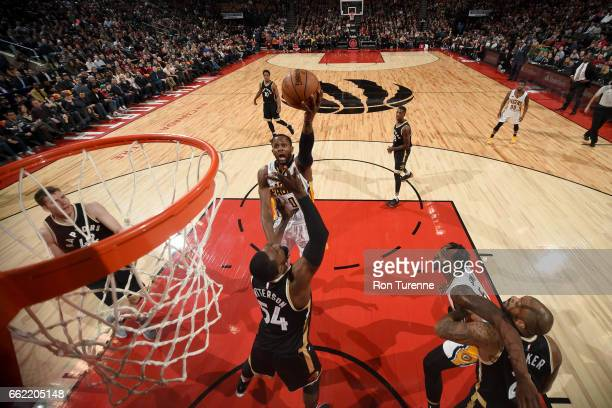 J Miles of the Indiana Pacers goes to the basket against the Toronto Raptors on March 31 2017 at the Air Canada Centre in Toronto Ontario Canada NOTE...