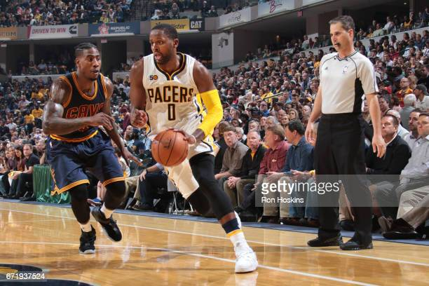 J Miles of the Indiana Pacers handles the ball against the Cleveland Cavaliers during Game Four of the Eastern Conference Quarterfinals of the 2017...