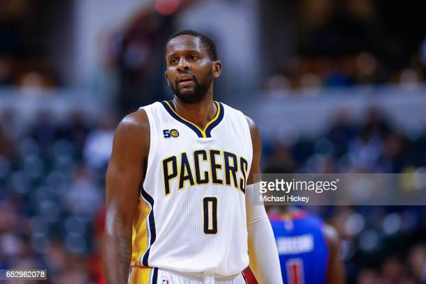 J Miles of the Indiana Pacers is seen during the game against the Detroit Pistons at Bankers Life Fieldhouse on March 8 2017 in Indianapolis Indiana...
