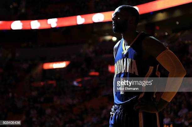 J Miles of the Indiana Pacers looks on during a game against the Miami Heat at American Airlines Arena on January 4 2016 in Miami Florida NOTE TO...