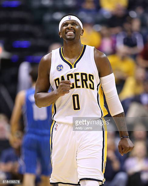 J Miles of the Indiana Pacers reacts after missing a shot during the game against the Orlando Magic at Bankers Life Fieldhouse on March 31 2016 in...