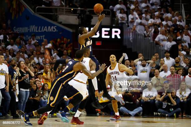Miles of the Indiana Pacers shoots but misses a fourth quarter game winning shot at the buzzer while playing the Cleveland Cavaliers in Game One of...