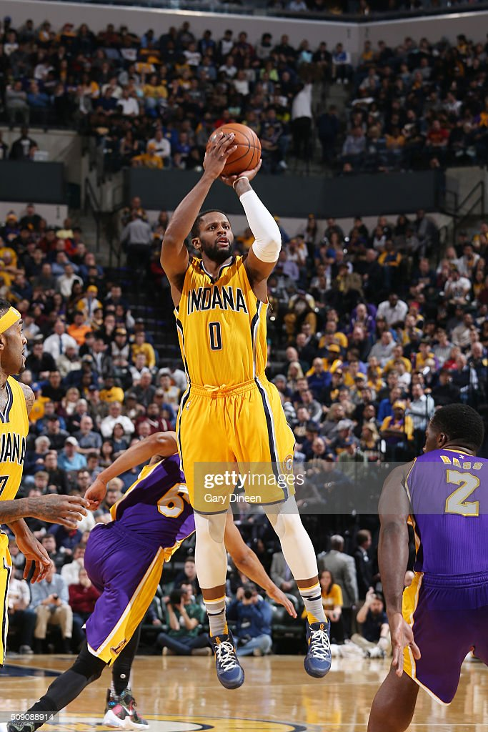 <a gi-track='captionPersonalityLinkClicked' href=/galleries/search?phrase=C.J.+Miles&family=editorial&specificpeople=641491 ng-click='$event.stopPropagation()'>C.J. Miles</a> #0 of the Indiana Pacers shoots the ball against the Los Angeles Lakers on February 8, 2016 at Bankers Life Fieldhouse in Indianapolis, Indiana.