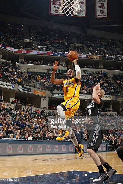 J Miles of the Indiana Pacers shoots the ball against the Minnesota Timberwolves during the game on January 13 2015 at Bankers Life Fieldhouse in...