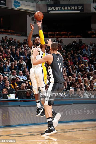 J Miles of the Indiana Pacers shoots the ball during the game against the Brooklyn Nets on January 5 2017 at Bankers Life Fieldhouse in Indianapolis...