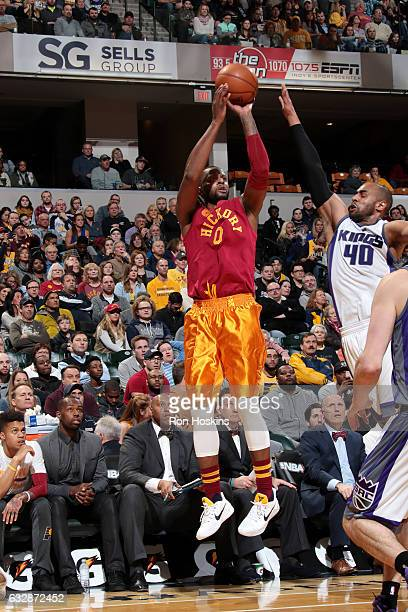 J Miles of the Indiana Pacers shoots the ball during the game against the Sacramento Kings on January 27 2017 at Bankers Life Fieldhouse in...