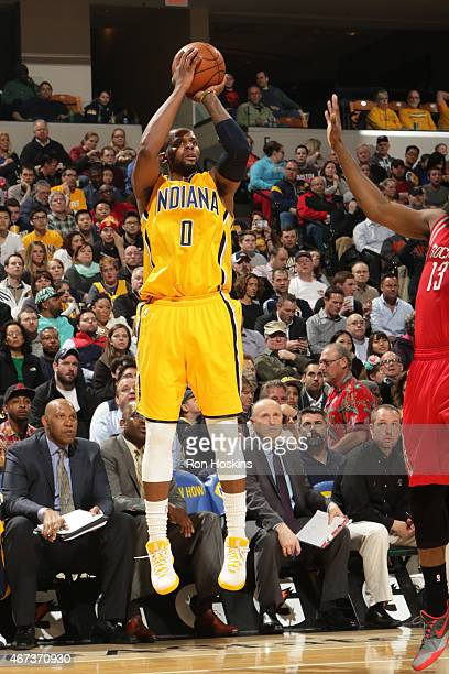 J Miles of the Indiana Pacers takes a shot against the Houston Rockets on March 23 2015 at Bankers Life Fieldhouse in Indianapolis Indiana NOTE TO...